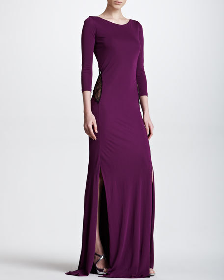 Lace-Back Silky Jersey Gown, Purple