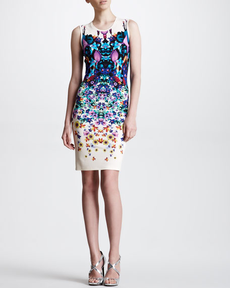 Sleeveless Symmetric Floral-Print Dress, White/Multicolor