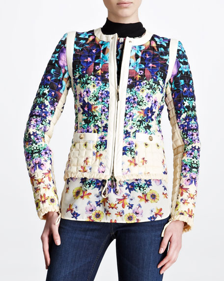 Quilted Floral-Print Jacket, Blue/White
