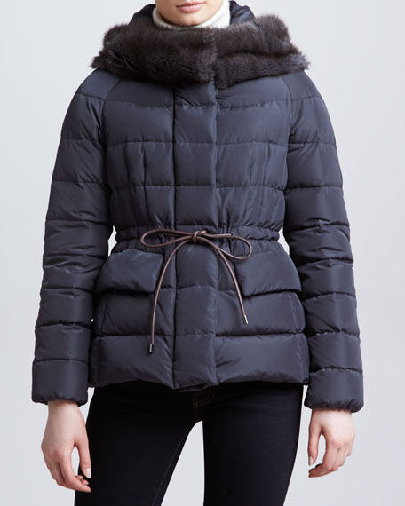Fur-Trim Hip-Length Puffer Jacket, Charcoal