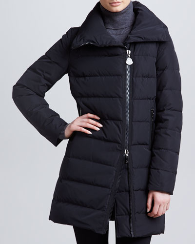 Moncler Mid-Length Puffer Coat with Asymmetric Zip, Black