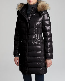 Moncler Fur-Hooded Long Puffer Coat, Black
