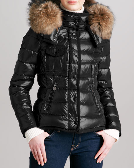 Short Puffer Jacket with Fur-Trimmed Hood