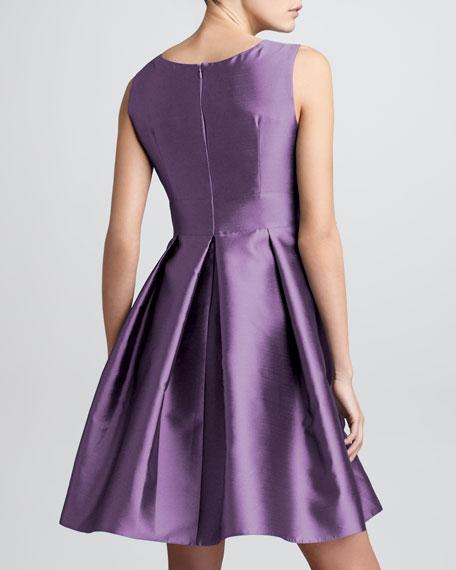 Sleeveless Doupioni Flare Dress, Grape