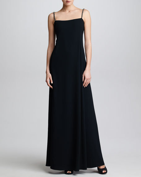 Beaded-Strap Crepe Gown, Black