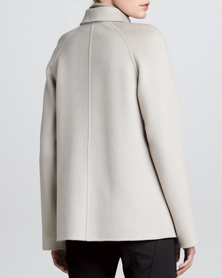 Folded Collar Cashmere Coat, Taupe