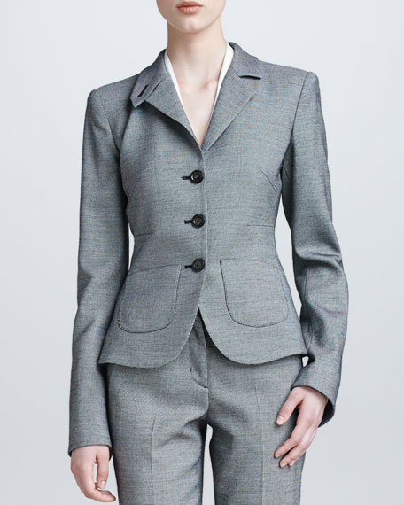 Three-Button Flannel Suit Jacket, Black/White