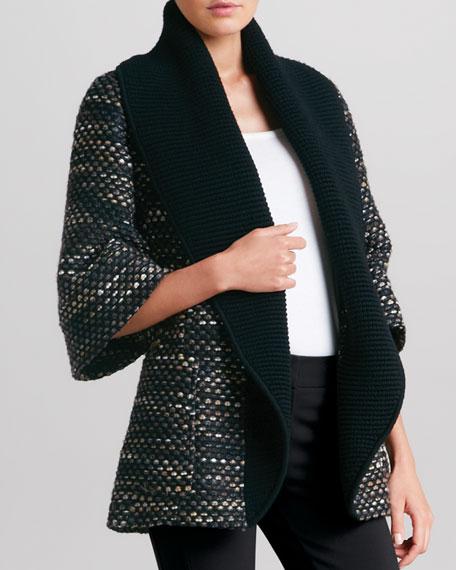 Belted Coat with Oversized Collar, Nutmeg/Multi