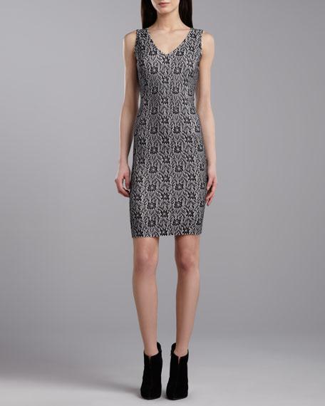 V-Neck Sleeveless Dress, Caviar/Porcelain
