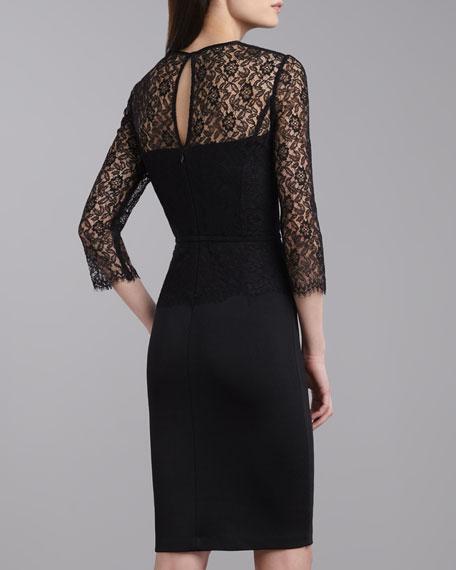 Milano Lace Jewel-Neck Dress, Caviar
