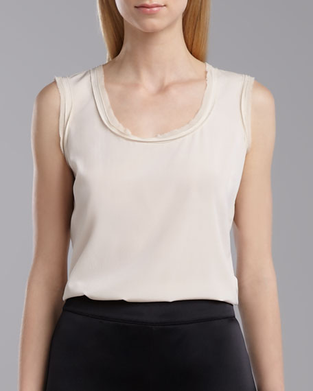 Scoop Neck Sleeveless Top, Porcelain