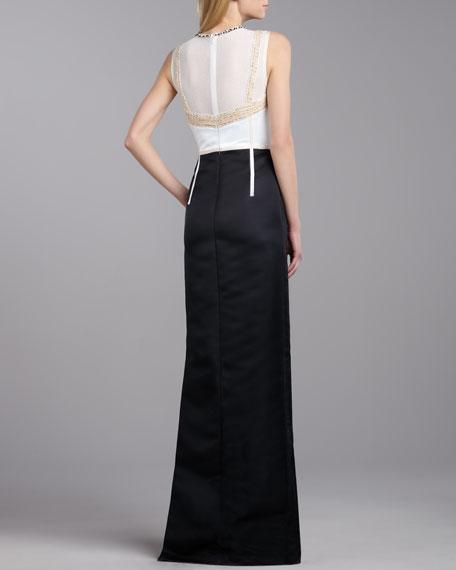 Duchesse Beaded-Neck Gown, Cream/Caviar