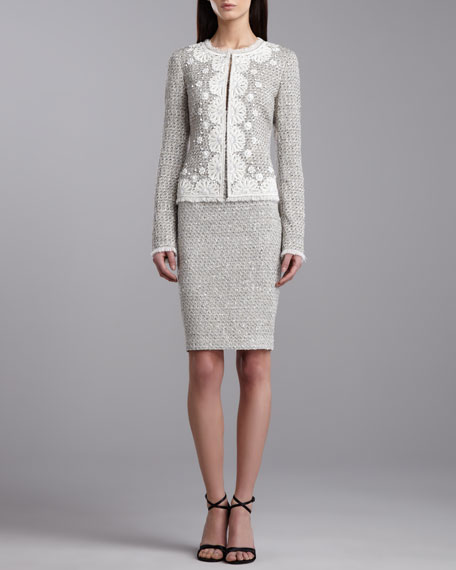 Speckled Tweed Pencil Skirt, Porcelain
