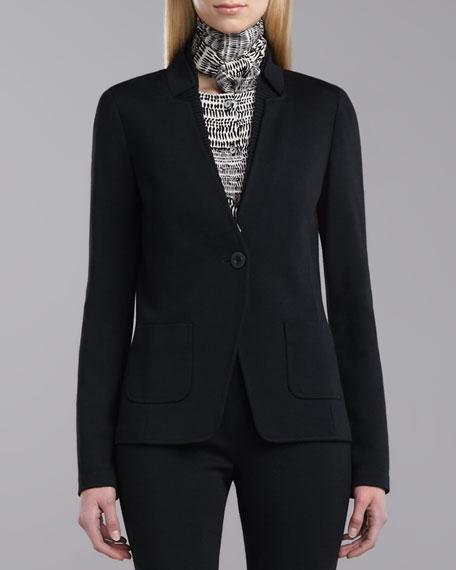 Milano Knit Fitted Blazer, Caviar