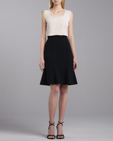 Crepe Marocain Fit-and-Flare Skirt, Caviar