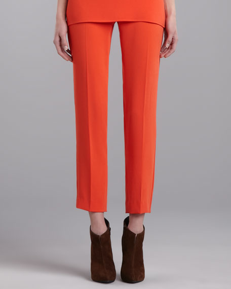 Emma Luxe Crepe Cropped Pants, Flame
