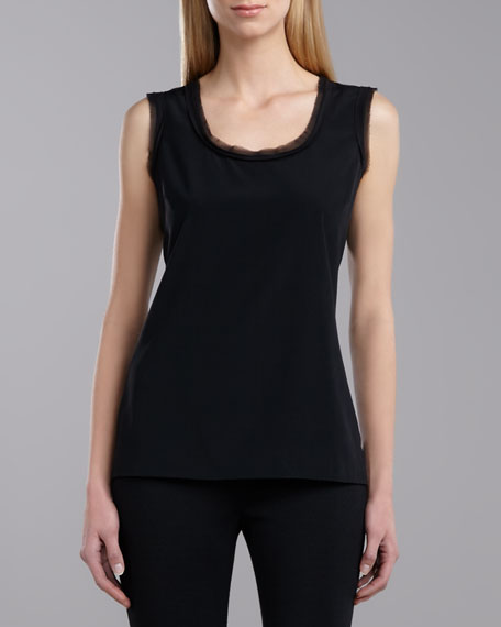 Scoop Neck Sleeveless Top, Caviar