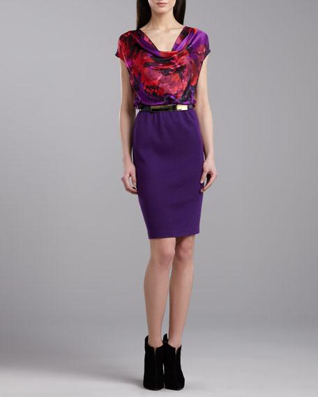 Stretch Charmeuse Cowl Neck Dress, Violet/Multicolor