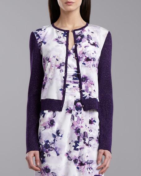 Ribbed Knit Iris-Print Cardigan, Violet