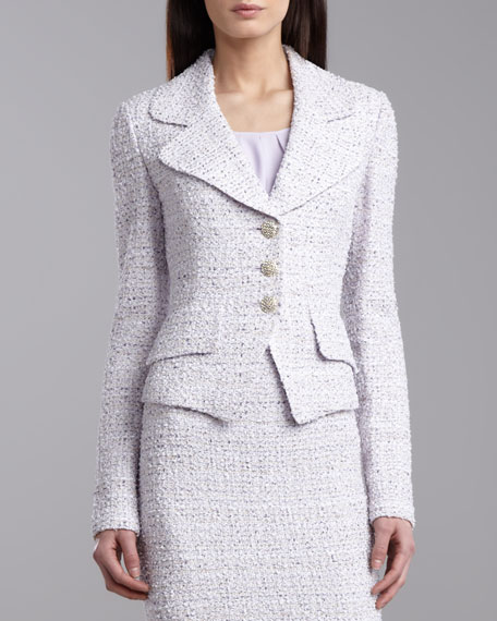 Tweed Knit Fitted Jacket, Lilac/Multicolor