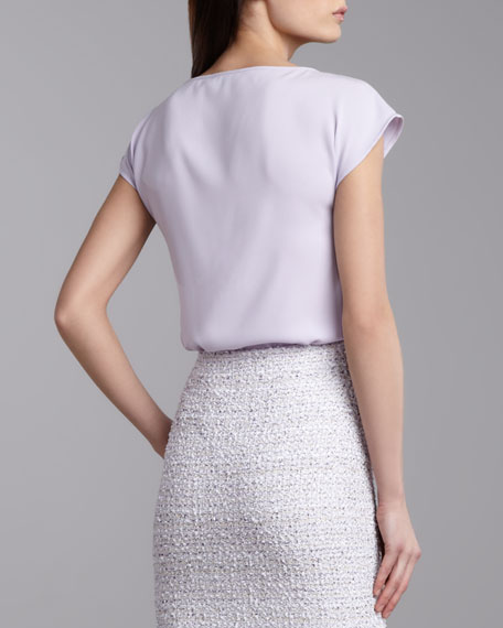Luxe Crepe Cap-Sleeve Top, Lilac