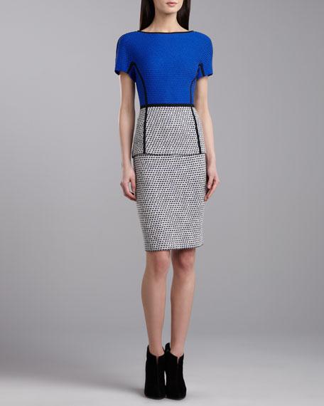 Soho Short-Sleeve Dolman Dress, Blue/Multi