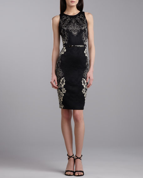 Cascade Jacquard Sheath Dress, Caviar/Gold