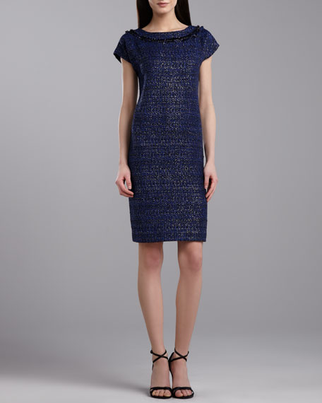 Graphic Tweed Cap-Sleeve Dress, Caviar/Multi