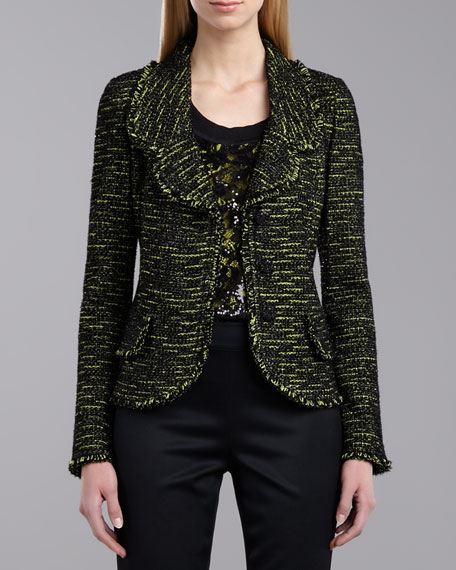 Stretch Tweed Knit Jacket, Neon/Multicolor