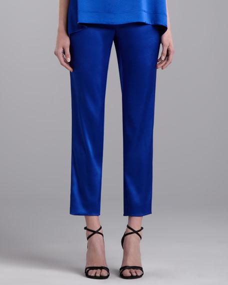 Emma Cropped Satin Pants, Vivid Blue