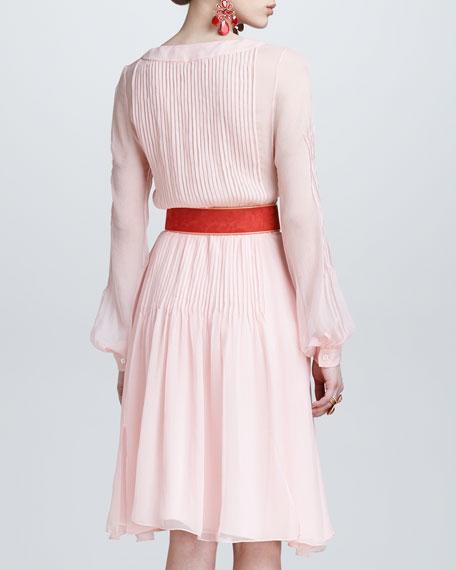 Silk Chiffon Tuxedo Shirtdress, Petal Pink