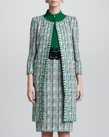 Overwoven Embroidered Houndstooth Coat