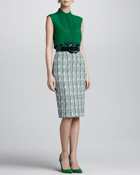 Overwoven Embroidered Houndstooth Skirt