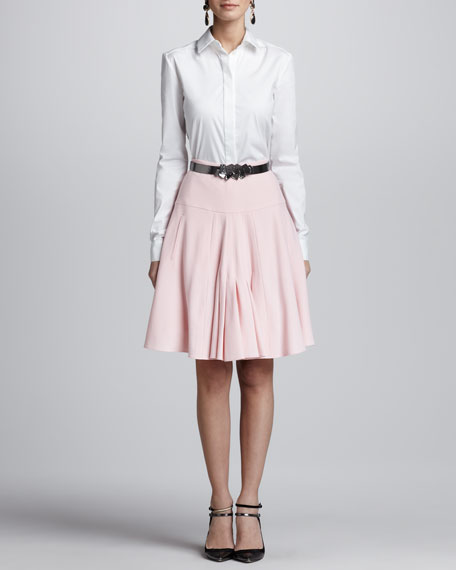 Front-Pleated A-Line Skirt, Petal