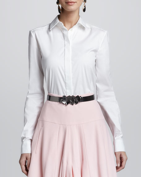 Button-Up Collared Shirt, White