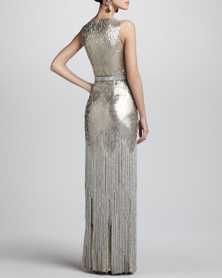 Bead-Fringe Sleeveless Column Gown
