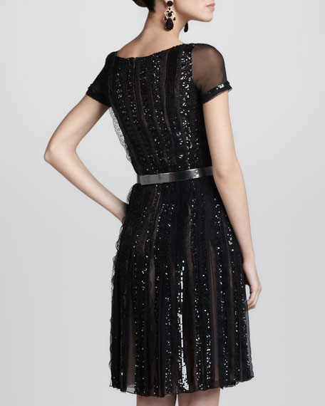 Beaded Lace-Detail Dress
