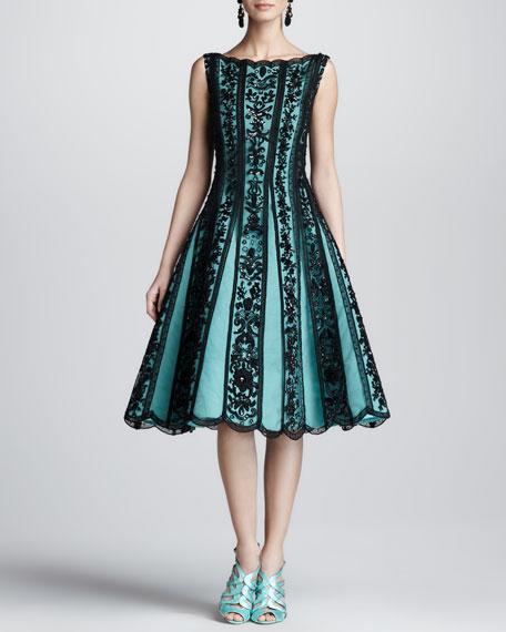Beaded Lace-Overlay Full-Skirt Dress