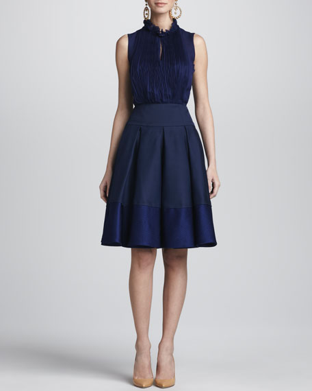 Box Pleated A-Line Skirt, Marine