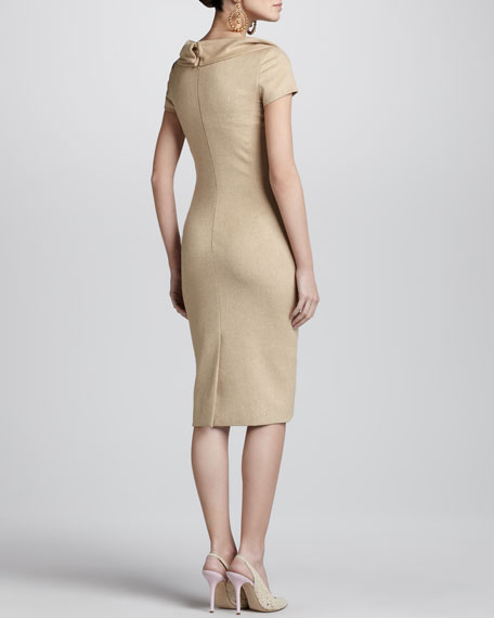 Cap-Sleeve Fold-Neck Sheath Dress, Camel