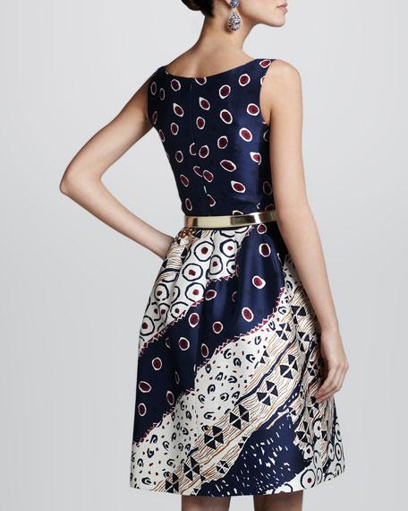 Collage-Print Satin Dress, Navy/White