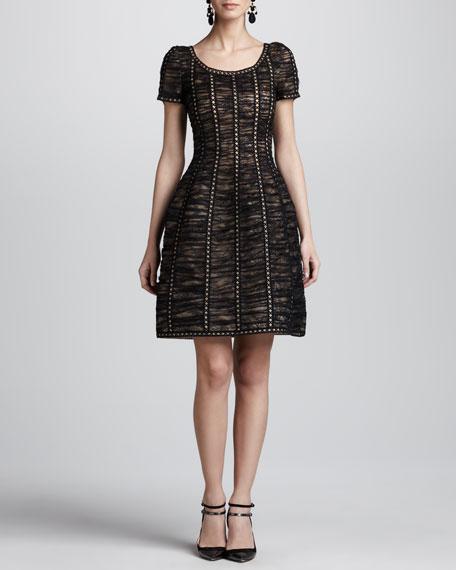 Floral Chantilly Lace Dress, Black