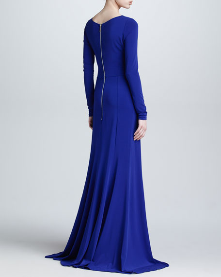 Long-Sleeve Gathered Jersey Gown, Blue