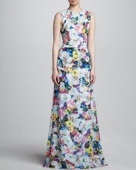 Long Floral-Print Dress