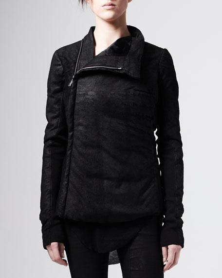 Asymmetric Blistered Leather Jacket