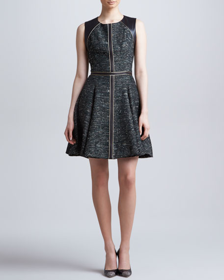 Leather-Trim Tweed Dress, Forest/Multi