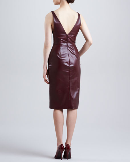 Fitted Plunging Leather Dress, Port