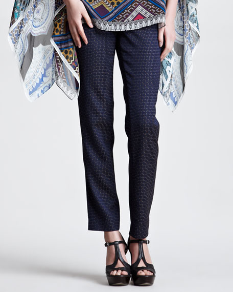 Straight-Leg Jacquard Pants, Navy/Orange