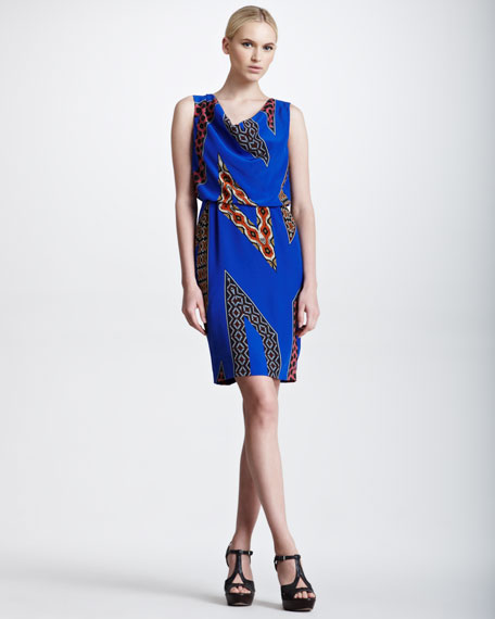 Cobra-Striped Sleeveless Blouson Dress, Blue