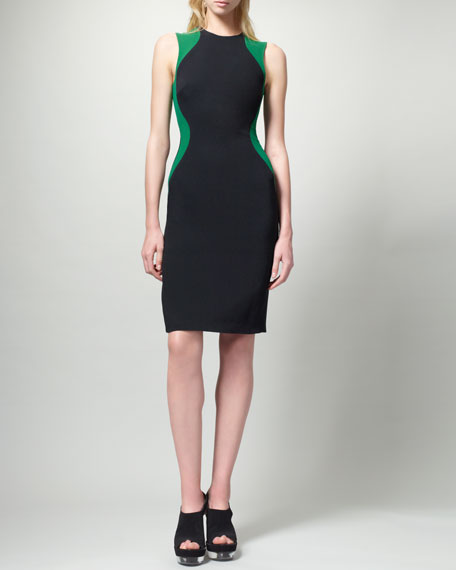Contour Colorblock Sheath Dress, Black/Green